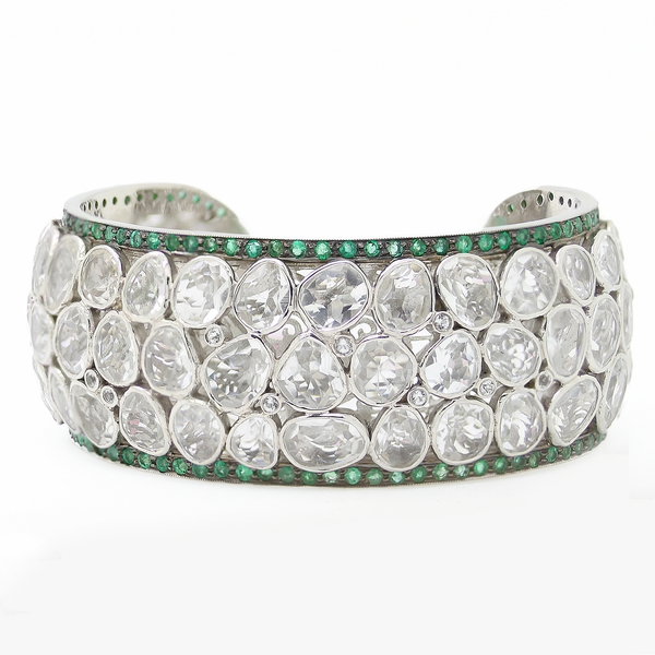 Wide Cuff Bracelet With Crystals & Emeralds - Item # B0191 - Reliable Gold Ltd.