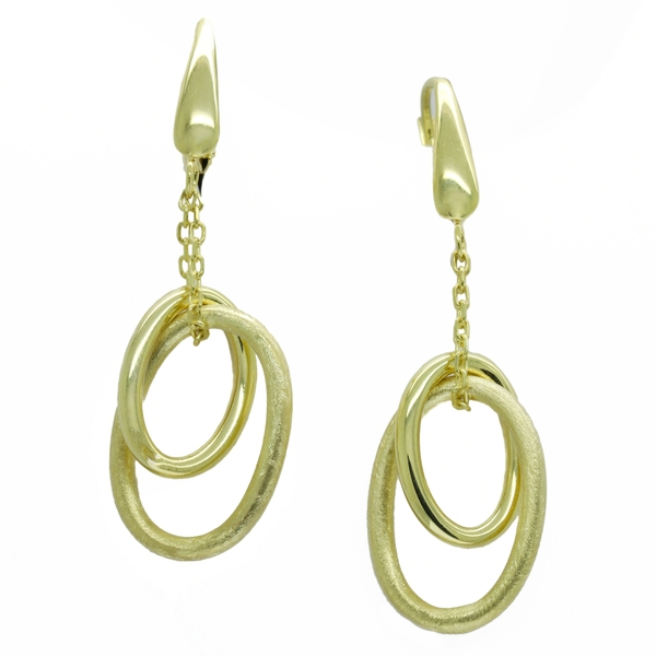 Dangling Double Gold Hoop Earrings - Item # ER1508 - Reliable Gold Ltd.