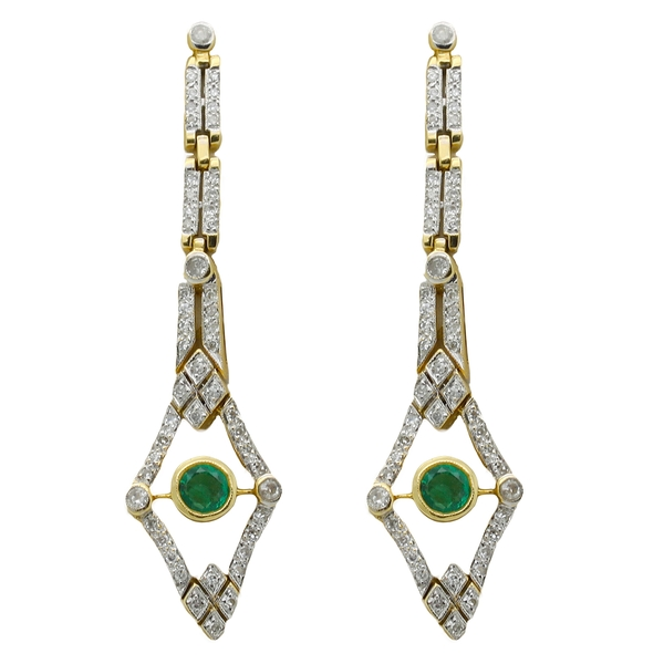 Deco-Style Diamond & Emerald Earrings - Item # AYC01 - Reliable Gold Ltd.