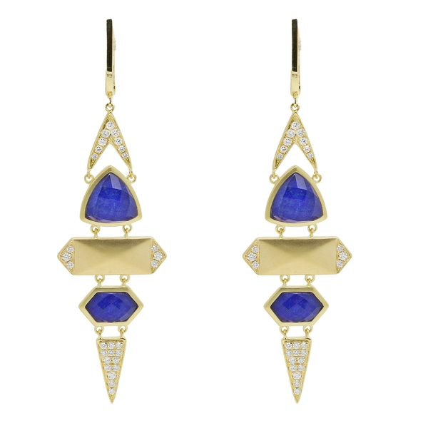 Art Deco, Yellow Gold and Lapis Lazuli Drop Earrings - Item # ER1635 - Reliable Gold Ltd.