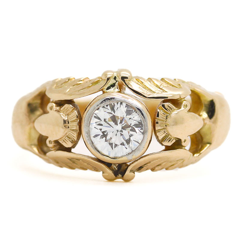 Estate Engraved Angel Band With Center Round Diamond - Item # R0099 - Reliable Gold Ltd.