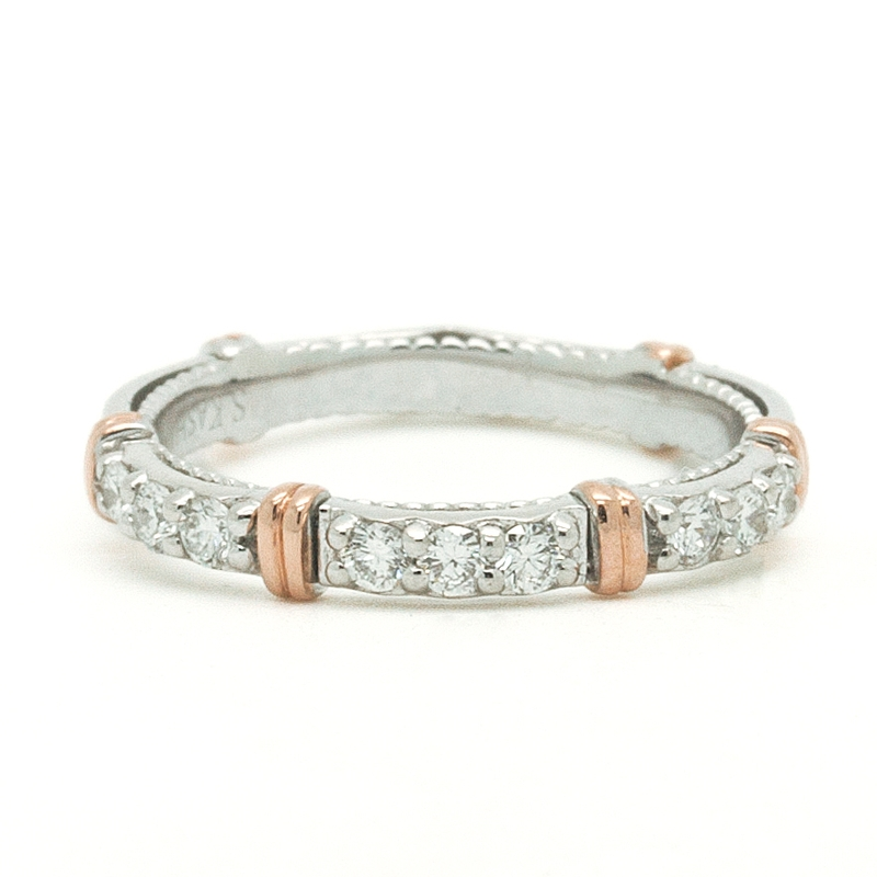 Diamond Band In White Gold With Rose Gold - Item # R0217 - Reliable Gold Ltd.