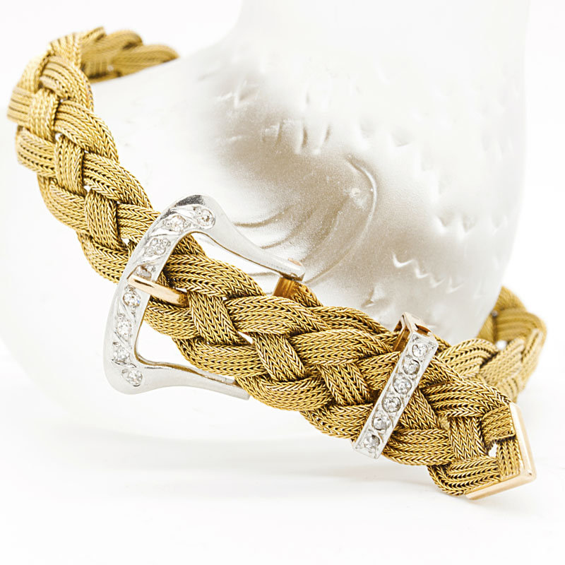 Estate Yellow Gold And Diamond Buckle Bracelet - Item # B2821A - Reliable Gold Ltd.