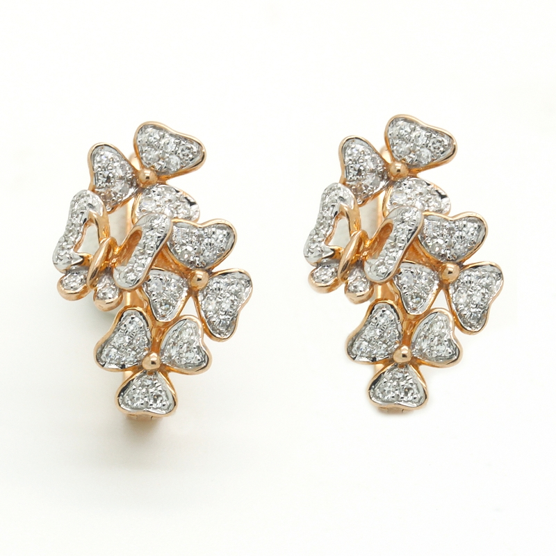 Clover & Butterfly Motif Diamond Earrings - Item # ER0161 - Reliable Gold Ltd.