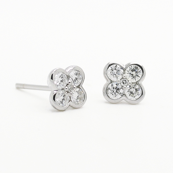 Diamond Clover Stud Earrings - Item # ER0215 - Reliable Gold Ltd.