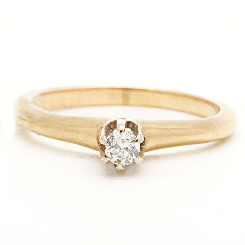 Six-Prong Diamond Engagement Ring - Item # NIR313 - Reliable Gold Ltd.