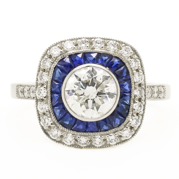 Art Deco Style Diamond & Sapphire Ring - Item # R1795 - Reliable Gold Ltd.