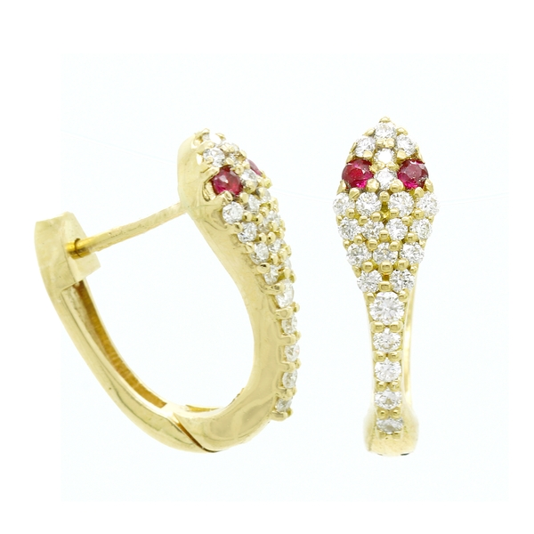 Diamond Huggie Snake Earrings - Item # ER0592 - Reliable Gold Ltd.