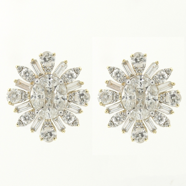 Starburst Diamond Button Earrings - Item # ER0268 - Reliable Gold Ltd.