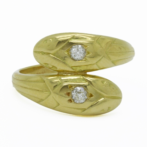Estate Double Head Snake Ring - Item # R1709 - Reliable Gold Ltd.