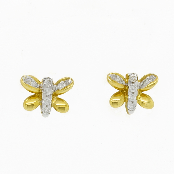 Yellow Gold Dragonfly Earrings - Item # ER4241 - Reliable Gold Ltd.