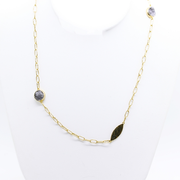 Yellow Sterling Silver Hammered Necklace With Black Druzy - Item # N1386 - Reliable Gold Ltd.