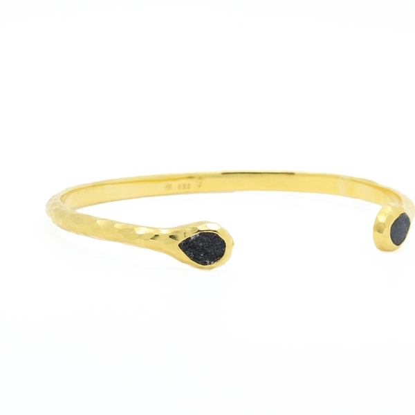Gold Over Sterling Silver Hammered Cuff Bracelet With Druzy  - Item # B1315 - Reliable Gold Ltd.