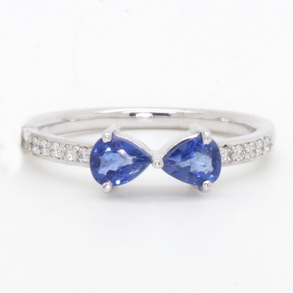 Pear Shaped Sapphire and Diamond Ring - Item # HMR1111 - Reliable Gold Ltd.