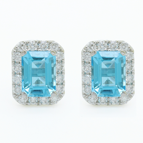 Emerald Cut Blue Topaz Earrings With Diamonds - Item # ER1536 - Reliable Gold Ltd.