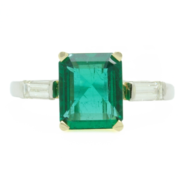 Emerald Ring With Diamond Baguettes  - Item # R0698 - Reliable Gold Ltd.