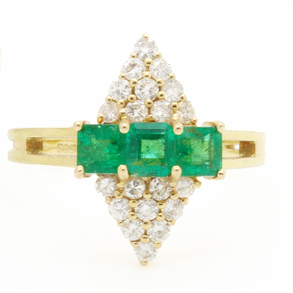 Emerald Ring With Pointed Top & Bottom Diamond Sections - Item # R3567 - Reliable Gold Ltd.