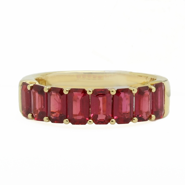 Yellow Gold Emerald Cut Ruby Band - Item # JM17113 - Reliable Gold Ltd.