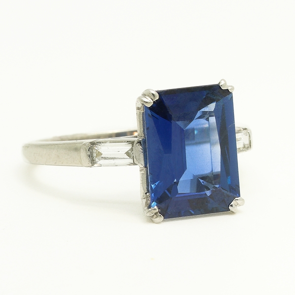 Estate Emerald Cut Sapphire Ring With Diamonds - Item # R1627 - Reliable Gold Ltd.