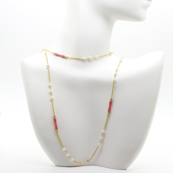 Pink Enamel, Diamond And Pearl Necklace - Item # N1374 - Reliable Gold Ltd.