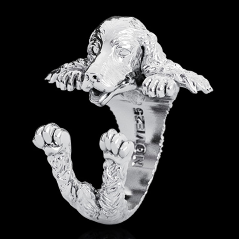 English Cocker Spaniel Sterling Silver Huggie Ring - Item # R0122 - Reliable Gold Ltd.