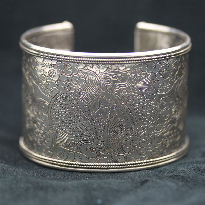 Large Twin Fish Sterling Silver Cuff Bracelet - Item # B0018 - Reliable Gold Ltd.