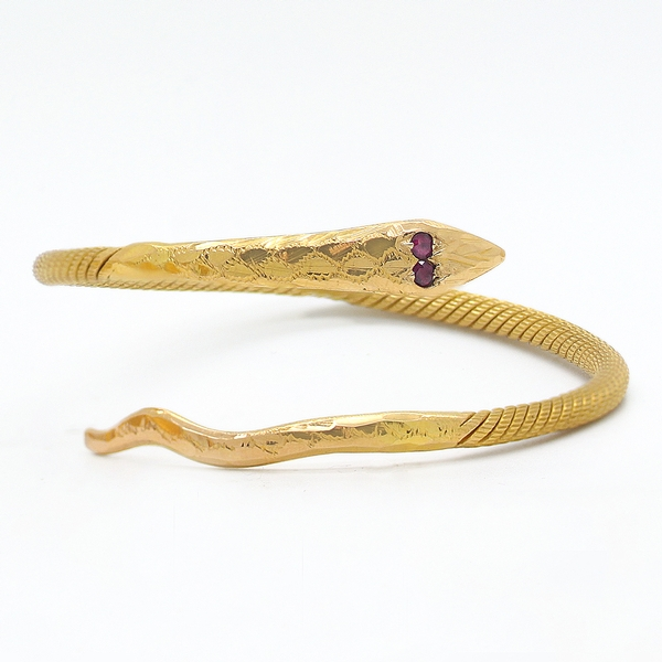 22K Snake Bracelet With Rubies - Item # B0170 - Reliable Gold Ltd.