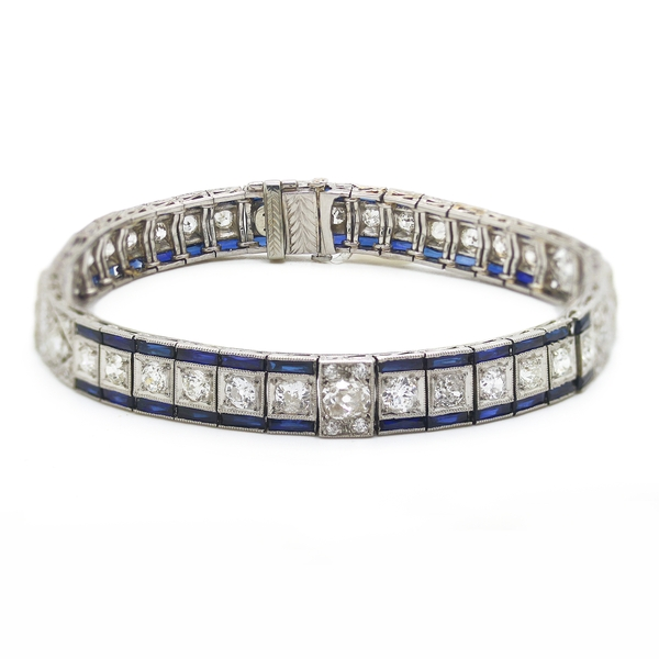 Art Deco Platinum, Diamond & Sapphire Line Bracelet - Item # TCC002 - Reliable Gold Ltd.