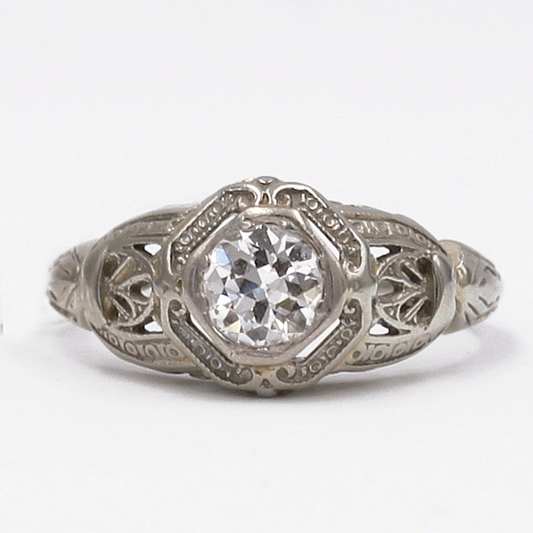 Filigree Diamond Engagement Ring - Item # ZGC01 - Reliable Gold Ltd.