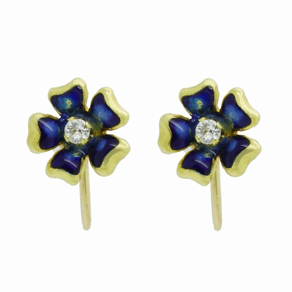 Enamel Flowers With Diamond Centers Earring - Item # ER1621 - Reliable Gold Ltd.
