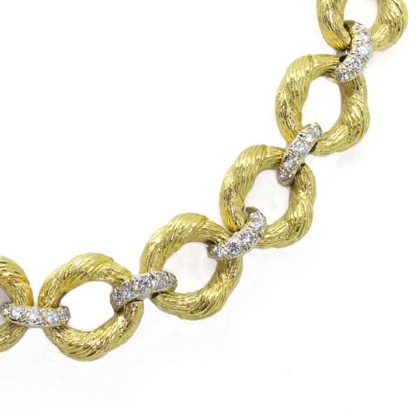 Heavy Textured Gold Link Necklace With Diamonds - Item # JHM14 - Reliable Gold Ltd.