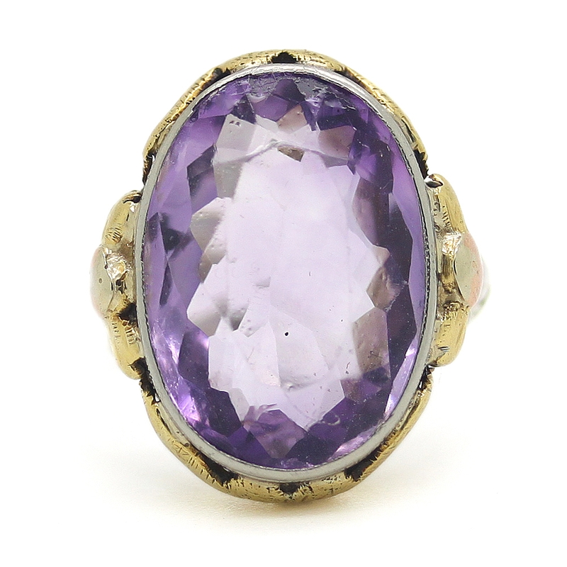 Estate Large Amethyst Ring In Ornate Filigree Mounting - Item # R6362 - Reliable Gold Ltd.