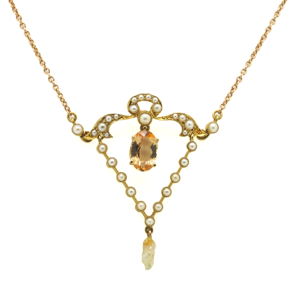 Lavalier Precious Topaz & Pearl Necklace - Item # N0153 - Reliable Gold Ltd.