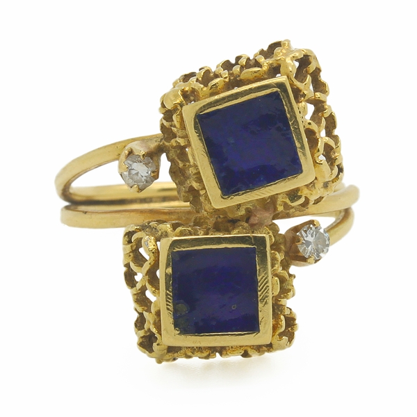 Estate Ring With Blue Squares & Small Diamonds - Item # R0229 - Reliable Gold Ltd.