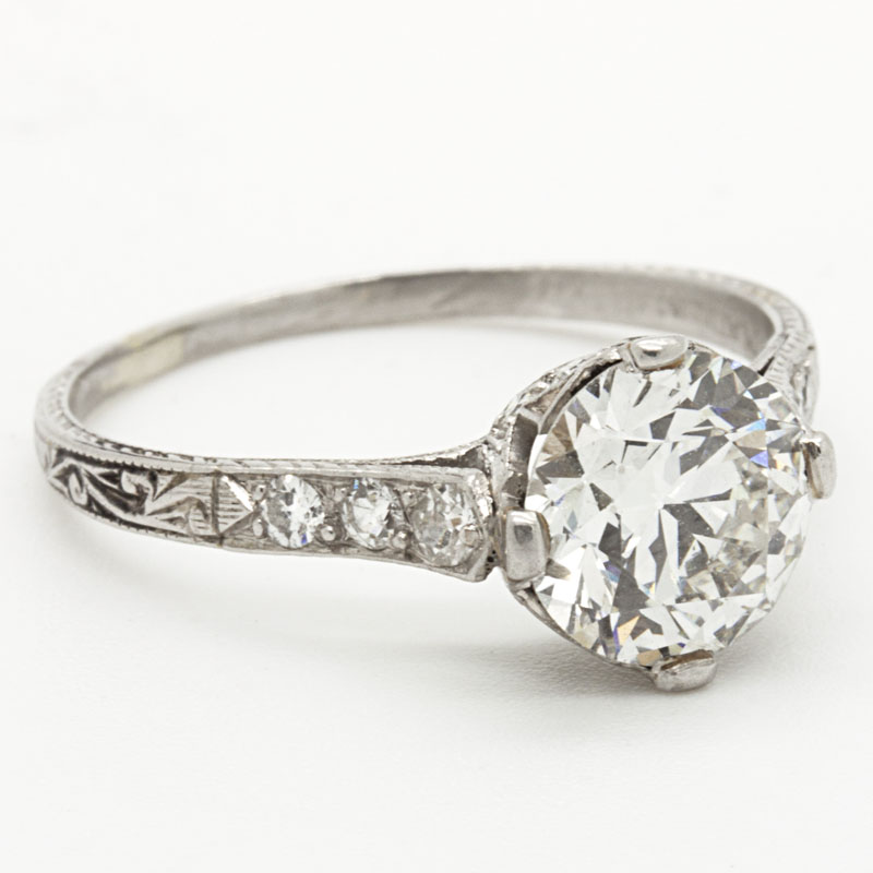 Estate Diamond Engagement Ring With Ornate Shank - Item # R2789A - Reliable Gold Ltd.