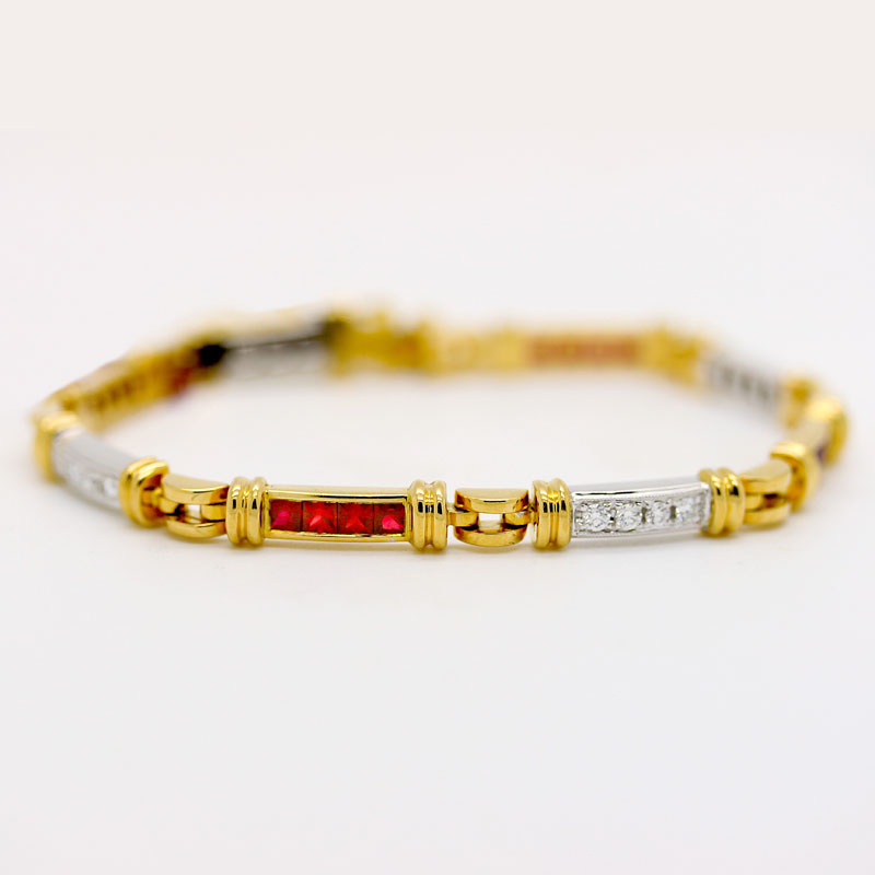 Stately Ruby & Diamond Bracelet - Item # B0014 - Reliable Gold Ltd.