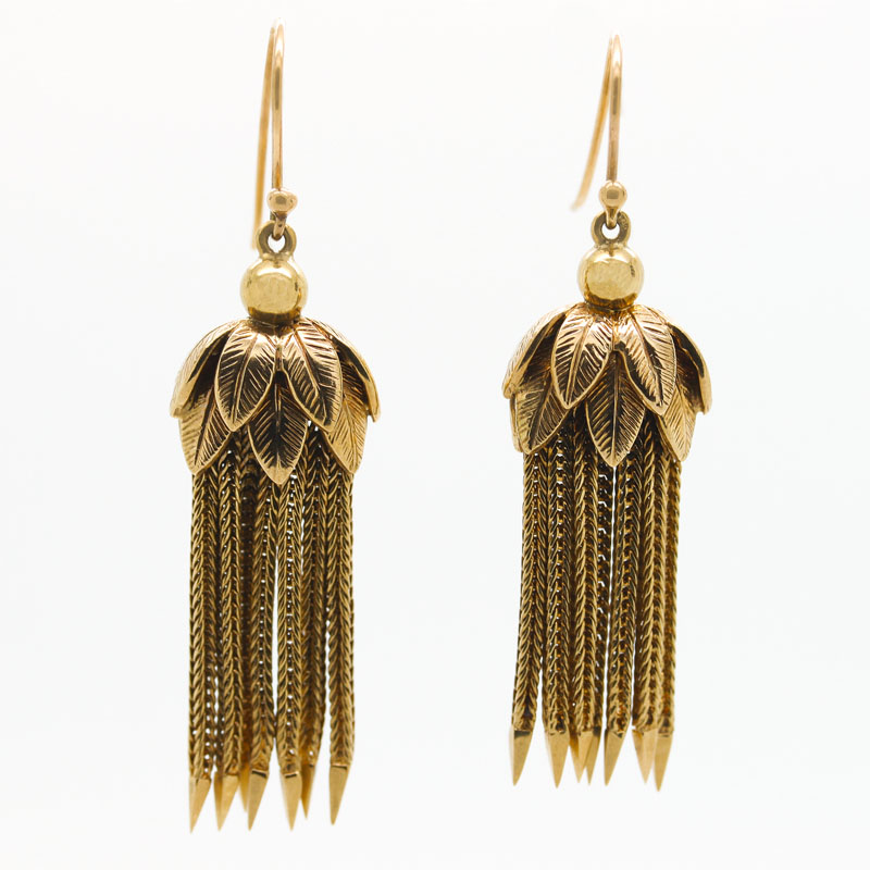 Estate Tassel Drop Earrings With Leaf Motif - Item # ER5069 - Reliable Gold Ltd.