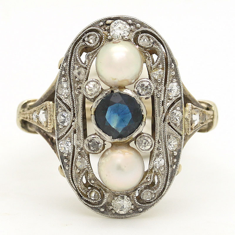 European Estate Dinner Ring With Sapphire, Pearls & Diamonds - Item # R0037 - Reliable Gold Ltd.