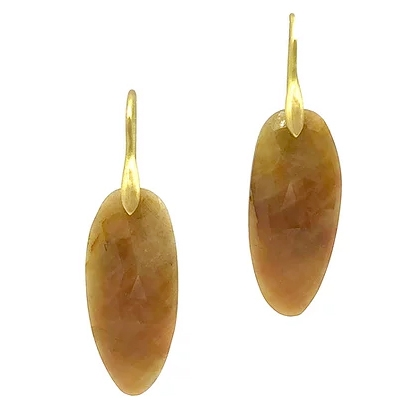 Sapphire Rose Cut Slice Earrings - Item # ER0601 - Reliable Gold Ltd.