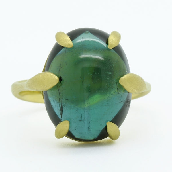 Cabochon Green Tourmaline Ring - Item # R1663 - Reliable Gold Ltd.