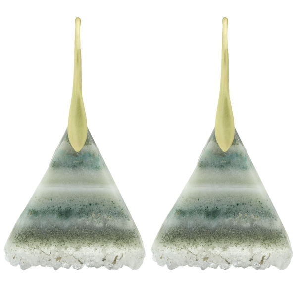Striped Triangle Geode Earrings - Item # ER578 - Reliable Gold Ltd.