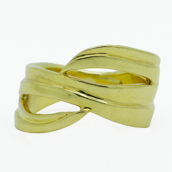 Wide, Ribboned 18K Gold Band Ring - Item # OEM01 - Reliable Gold Ltd.