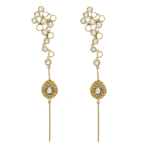 Long Drop Earrings With Diamonds In Yellow Gold - Item # HM0138 - Reliable Gold Ltd.