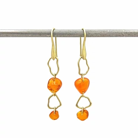 Fire Opal Link Earrings - Item # ER1683 - Reliable Gold Ltd.