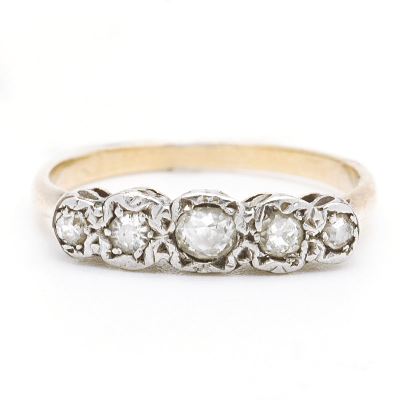 Estate Five-Diamond Gold Band - Item # R1295A - Reliable Gold Ltd.