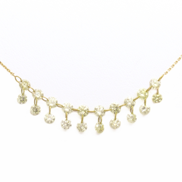 Floating Yellow Diamond Necklace - Item # HMN0807 - Reliable Gold Ltd.