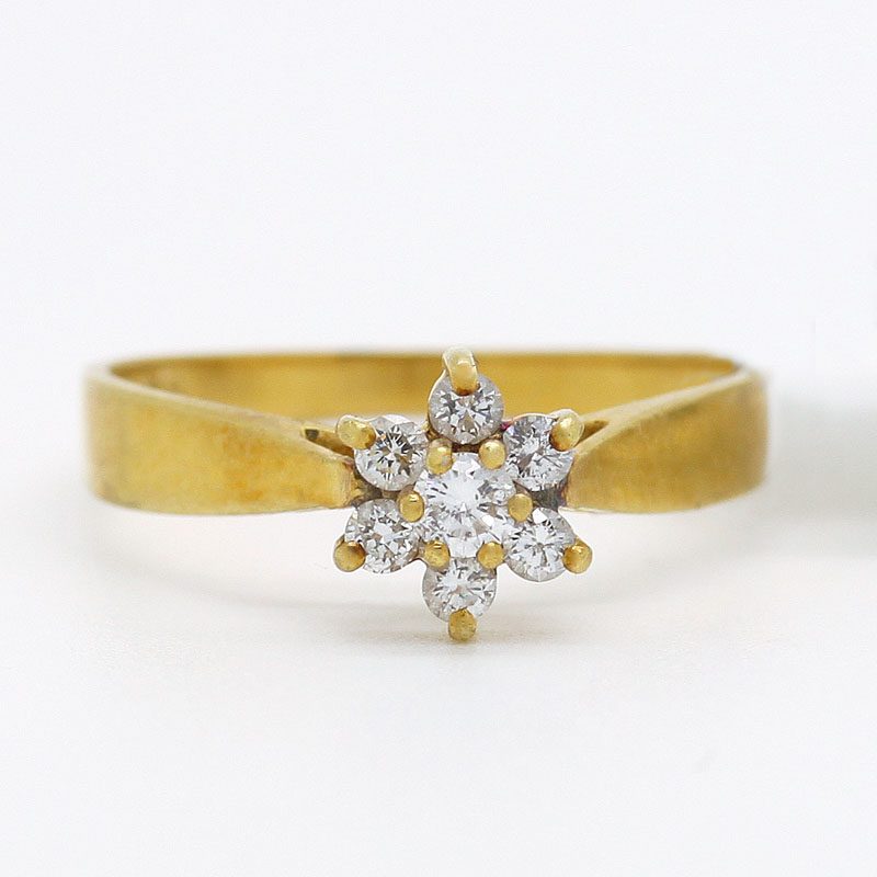 18K Diamond Flower Ring - Item # R2812A - Reliable Gold Ltd.