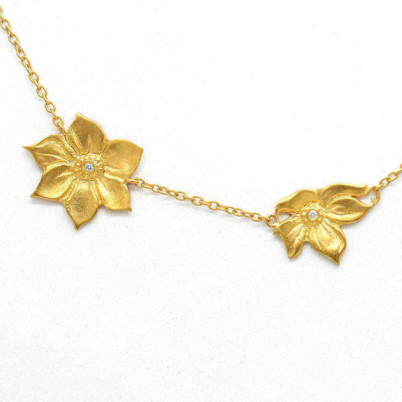 24K Gold Plated Flower Necklace - Item # N0024 - Reliable Gold Ltd.