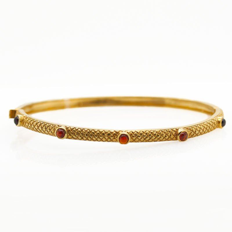 Gold-Plated Hinged Bangle With Garnets - Item # B0068 - Reliable Gold Ltd.