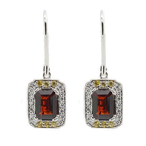 Garnet & Diamond Drop Earrings - Item # ER0480 - Reliable Gold Ltd.